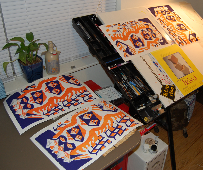 Screenprints Drying