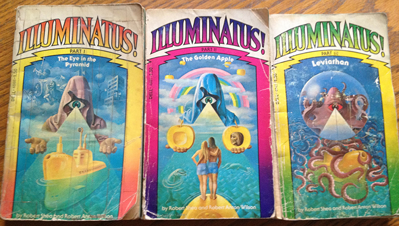 Illuminatus! trilogy by Robert Anton Wilson, covers by Carlos Victor Ochagavia