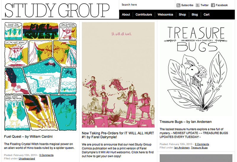 Study Group Comics main page screenshot