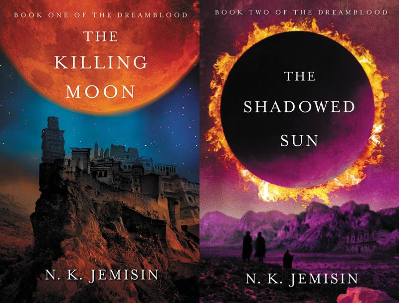 Jemisin's Dreamblood duology, covers by Marc Yankus